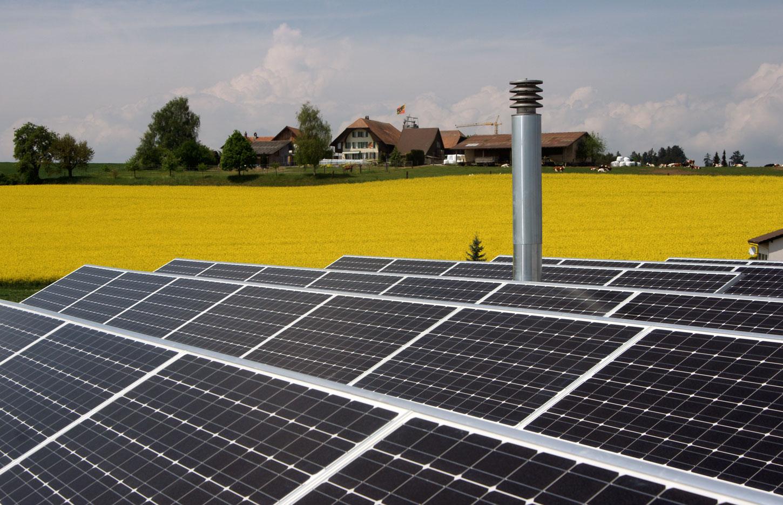 Freistehender Photovoltaik-Anlage inmitten eines Rapsfeldes