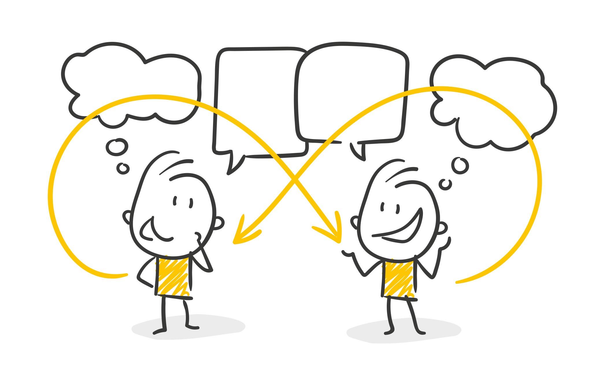 Illustrationen zweier Strickmännchen, die sich angeregt unterhalten.